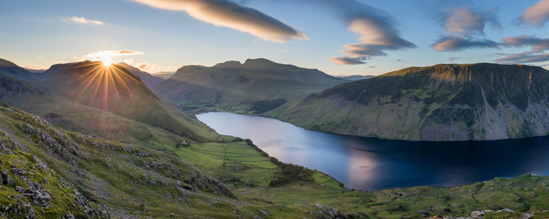 View of Wast Water Lake in Wasdale in the English Lake District. Middle Fell to The Scafells at sunrise.