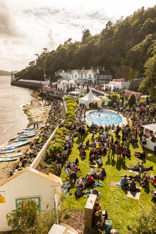 Festival N°6 annual art and music festival held at Portmeirion, Wales. A crowd at the village of Portmerion, on the waterfront.
